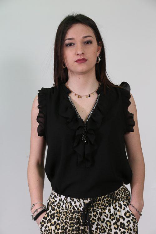 camicia nera strass | emma&gaia