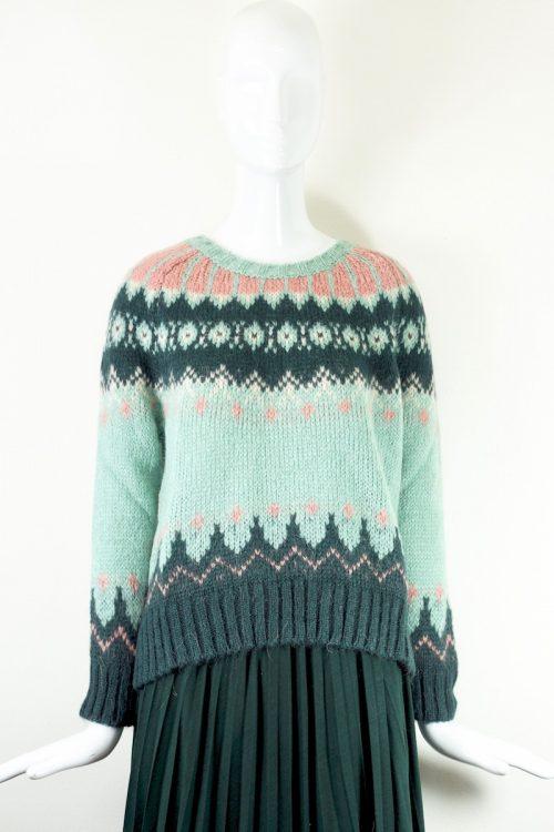 maglia ricamo verde B.yu